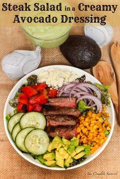 Mexican Steak Salad in a Creamy Avocado Dressing ~ Greens, carne asada, and other goodies lavishly coated in creamy avocado dressing ~ The Complete Savorist #VidaAguacate #EchaleLoMejor ad