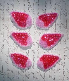 PINK SEQUIN APPLIQUES  Set of Six  Candy Pink by KeepsakesStudio