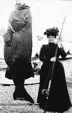 Victorian woman with her BIG catch!