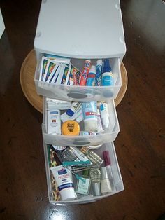 Organizing bathroom clutter.