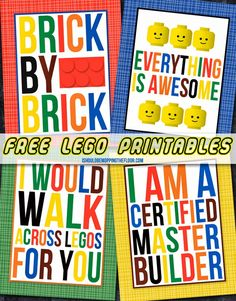 Free Lego Printables | Four Designs | Perfect for kids' rooms or parties | Instant downloads