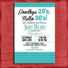 Goodbye 20's Hello 30's30th 40th 50th Chevron door PuzzlePrints, $15.00
