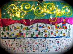 Cassie Stephens: In the Art Room: My Favorite Winter Art Lessons Group Art Projects, Winter Art Projects, School Art Projects, Diy Projects, Buskers Festival, Collaborative Art Projects, School Murals, Mural Art, Art Lesson Plans