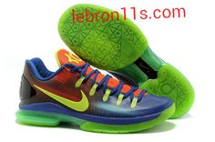 Lebron11s.com Wholesale Kevin Durant Sneakers V Low KD 5 Elite EYBL Blue to Red Gradient Volt 585386 082 Discount To $62.49