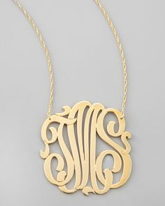 Three-Initial Pendant Necklace by Jennifer Zeuner at Neiman Marcus.