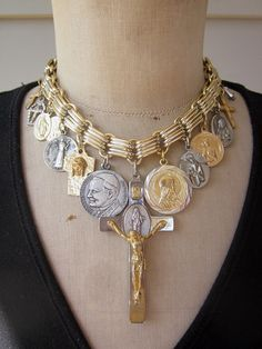 Thoroughly Modern Mary! Vintage necklace, statement necklace, rosary beads, crucifix