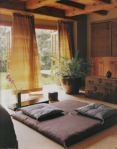 Less meditation, more bedroom. Love the idea of a floor bed and a very simple space, although a brighter color scheme. Zen Meditation Room
