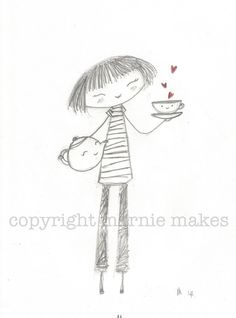 A Lovely Cup Of Tea  giclee print by marniemaurri on Etsy