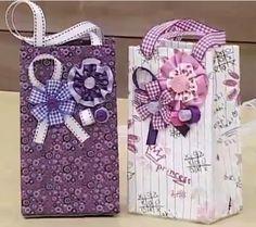 Gift Bag made of Tetrapack.. Tutorial Sacolinhas com Caixas de Leite | Passo a Passo -