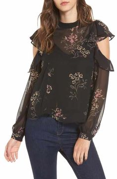Women's Astr The Label Chantelle Ruffle Top Black Chiffon Blouse, Chiffon Tops, Ruffle Top, Best Brand, Bell Sleeve Top, My Style, Label, Nordstrom, Dresses