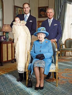 Prince William, Prince George, Prince Charles, and Queen Elizabeth