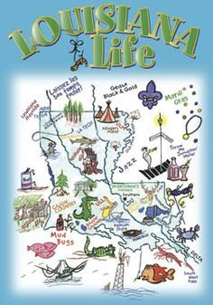 Louisiana Life Poster Art by Crown Industries Louisiana Map, Louisiana History, Louisiana Homes, New Orleans Louisiana, Louisiana Kitchen, Louisiana Purchase, Life Poster, Southern Charm, Southern Living