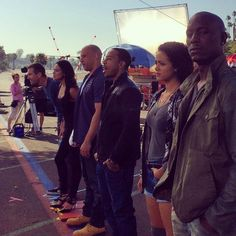 The cast on set for Fast and Furious 7