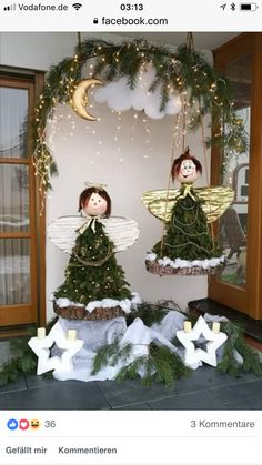 Ideas for Christmas decorations; Ideas for furnishing holiday homes . Ideas for Christmas decorations; Ideas for furnishing holiday homes …, # Cottages Christmas Porch, Outdoor Christmas, All Things Christmas, Christmas Time, Christmas Wreaths, Christmas Crafts, Christmas Branches, Whimsical Christmas, Christmas Table Decorations