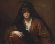 Портрет дамы в черной накидке.  Сантерр Жан-Батист (Jean-Baptiste Santerre; 1658—1717) — французский живописец