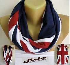 SALE  990 USD-Infinity Scarf England flag Circle by MebaDesign
