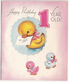 Vintage Fold Out Baby Ducks Birthday Greeting Card Happy Birthday 1 Year, Happy Birthday Vintage, Vintage Birthday Cards, Happy Birthday Greetings, Birthday Greeting Cards, Birthday Wishes, Vintage Ephemera, Vintage Cards, Vintage Postcards
