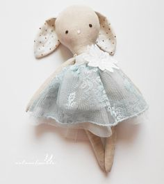 Sophie - linen bunny doll - Easter gift for girls - girl nursery decor - handmade doll - dress doll -  rag doll - textile toy
