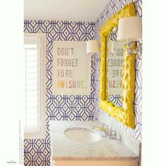 Don't forget to be AWESOME!! Our mantra this weekend comes from the dynamic studio Delicious Designs in Hingham Square, MA in the U.S.A. We love the joyful and witty use of Anna Spiro for Porter's Paints Rosey Posey Trellis handcrafted wallpaper in Ginger Jar Blue in this delightful powder room. Awesome is a theme that runs strongly through all of Roberta's projects for more delicious images, pop on over to see more!