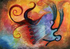 "Impression A4 de Peinture abstraite ""monstre de feu"" : Imprimés par cat-crea"