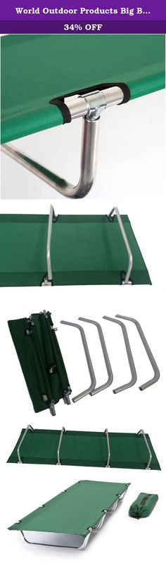 World Outdoor Products Big Bear COMPACT ROLLUP Camping Cot with Anodized Aluminum Frame in Hunter Green Featuring 600 D Washable and Mildew Resistant Polyester Fabric and a LED Flashlight!. FREE SHIPPING! World Outdoor Products Big Bear COMPACT ROLLUP Camping Cot has a High Quality Anodized Aluminum Frame is 76 inches Length, 24 inches Wide and 8 inches High. Excellent Craftsmanship is built into every one of these Camping Cots. It's the most comfortable roll up style Camping Cot you will...
