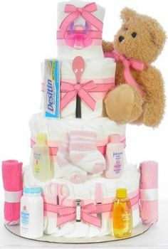 Girl Teddy Bear Diaper Cake Fun Crafts For Kids, Kid Crafts, Diaper Cakes, Cool Kids, Shower Ideas, Boy Or Girl, Party Ideas, Teddy Bear, Baby Shower