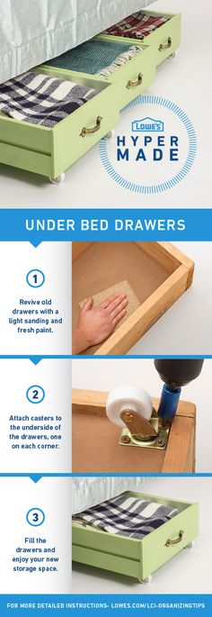Add extra storage to your bedroom in a few easy steps with these DIY under bed drawers. For more detailed instructions, go to  www.lowes.com/LCI-OrganizingTips                                                                                                                                                                                 More