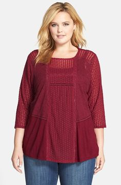 Lucky+Brand+Mixed+Lace+Top+(Plus+Size)+available+at+#Nordstrom