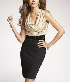 Express: DRAPE-NECK BANDED SKIRT DRESS http://www.express.com/drape-neck-banded-skirt-dress-38776-683/control/page/16/show/3/index.pro