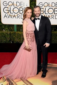 Actress Leslie Mann and director Judd Apatow attend the 73rd Annual Golden Globe Awards held at the Beverly Hilton Hotel on January 10, 2016 in Beverly Hills, California.  (Photo by Jason Merritt/Getty Images)