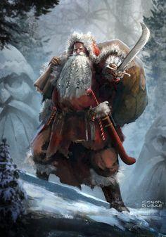 pixalry: Barbarian Santa - Created by Conor Burke Dark Christmas, Christmas Scenes, Christmas Art, Father Christmas, Character Inspiration, Character Art, Character Design, Yule, Bad Santa