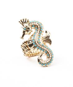 Gold & Turquoise Seahorse  Ring