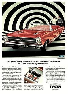 Ford Fairlane with ability to switch from automatic to manual transmission, according to the ad copy.