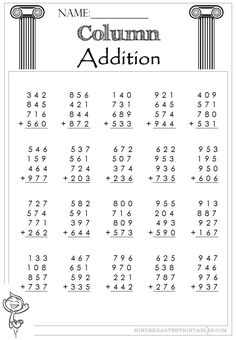 3 free Three Digit Column Addition 4 addends worksheets to use at home or in school, excellent for building confidence in addition and writing down the correct numbers. 3rd Grade Math Worksheets, Addition Worksheets, Number Worksheets, Mathematics, Lesson Plans, Curriculum, Numbers, Pdf, Grade 3