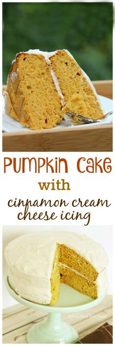 Pumpkin Cake with Cinnamon Cream Cheese Icing - this recipe combines all the best of Fall desserts in one dish. A delightfully moist cake topped with a cinnamon cream cheese frosting is truly spectacular. And it's easy to make!