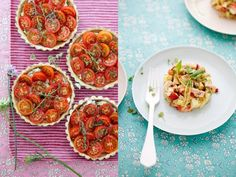 Tomato and goat cheese tarts, zucchini and mint gazpacho with radish salsa, and berry and hazelnut galette.