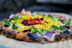 rustic rainbow pizza by My Beach Kitchen www.mybeachkitchen.com.au #foodphotography #foodstyling #woodfiredpizzaoven #woodfiredpizza