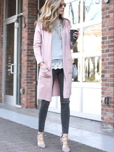 6f96923c243 spring outfit  long pink sweater cardigan with gray denim and heels Long Sweater  Outfits