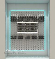 Modern Glass Wine Cellar Using STACT Wine Racks. Design Done By Vino Grotto.