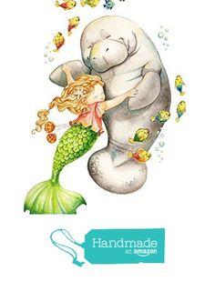 Shall We Dance? - Mermaid and Manatee Giclee Print, Original Artwork, Children's illustration, Nursery Wall Art Mermaid Nursery, Mermaid Art, Decoupage, Nursery Wall Art, Nursery Decor, Girl Nursery, Watercolor Paintings, Original Artwork, Fantasy Art