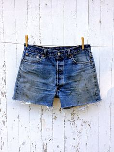 80s High Waist Levi 501 Cut Off Denim Shorts 34 waist Long Inseam Distressed Boyfriend Jean Shorts on Etsy, $32.00