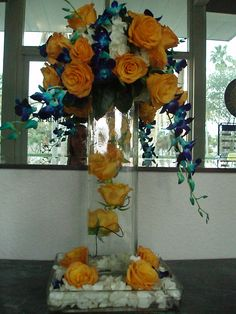 yellow and blue arrangement