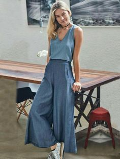 Cotton Wide Leg Casual Pants Sku Material Cotton Style Loose , Empire Feature Solid Occasion Going out , Casual , Vaca Womens Fashion Online, Latest Fashion For Women, Fashion Women, Look Fashion, Fashion Outfits, Fashion Trends, Trendy Fashion, Fashion Ideas, Feminine Fashion