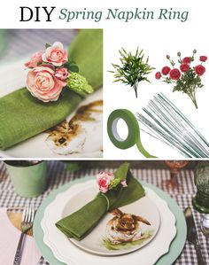 DIY Spring Napkin Ring.  Make your own floral napkin rings for your spring wedding.  Coil the floral wire to the size you want and wrap it with floral tape.  Clip the faux flowers you love with wire cutters and tape them to the ring you have created with the floral tape.  Voila!  Designed by Angela Marie Events with products from Afloral.com