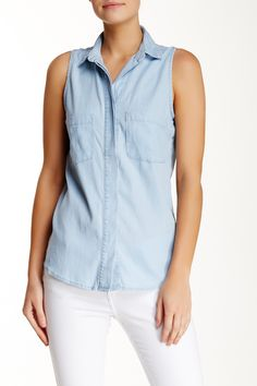 Andrea Jovine - Sleeveless Chambray Pocket Shirt at Nordstrom Rack. Free Shipping on orders over $100.
