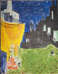 Cafe Terrace at Night with Cats after Van Gogh - by Nancy Denommee    from Famous Artist Versions