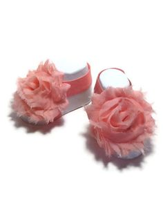 adorbs-Light coral shabby chic flower babies sandals, sock covers, babies shoes or shoe covers, peach baby accessories