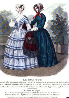 Le Bon Ton (Published in the Lady's Magazine), 1849. Both of these gowns are gorgeous, but I particularly like the dark blue trim on the light blue fabric.