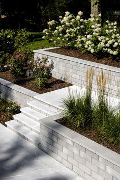 Backyard Retaining Walls, Rock Retaining Wall, Retaining Wall Design, Concrete Retaining Walls, Retaining Wall With Steps, Sleeper Retaining Wall, Concrete Steps, Sloped Yard, Sloped Backyard