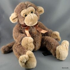 Russ Berrie Jimby Plush Monkey 13  Tipped Grey Brown Poseable Unjointed Cute